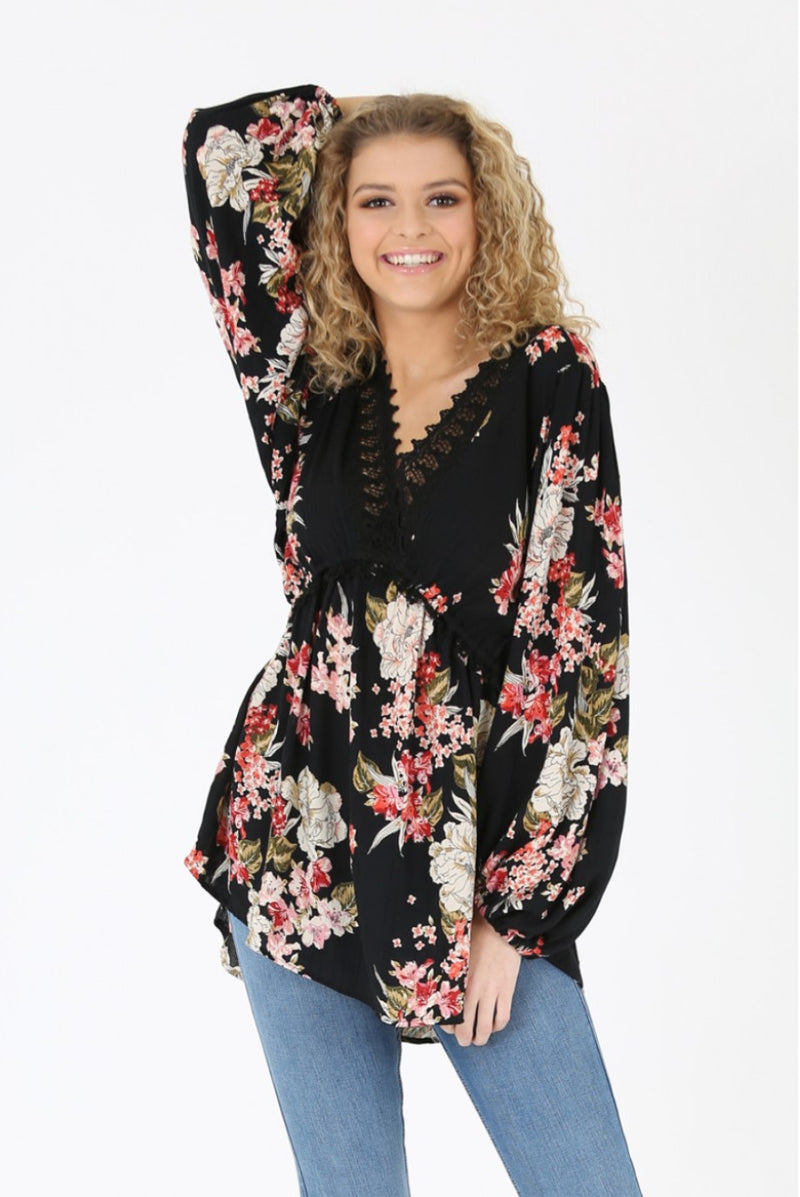 Angela Black Floral V Neck