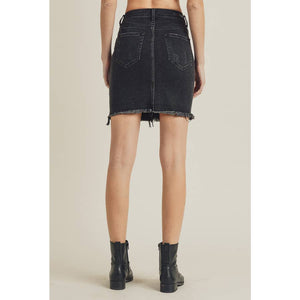 Risen Black Denim Skirt