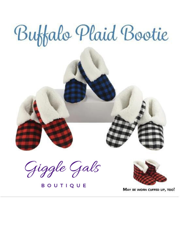 Snoozies Buffalo Plaid Booties