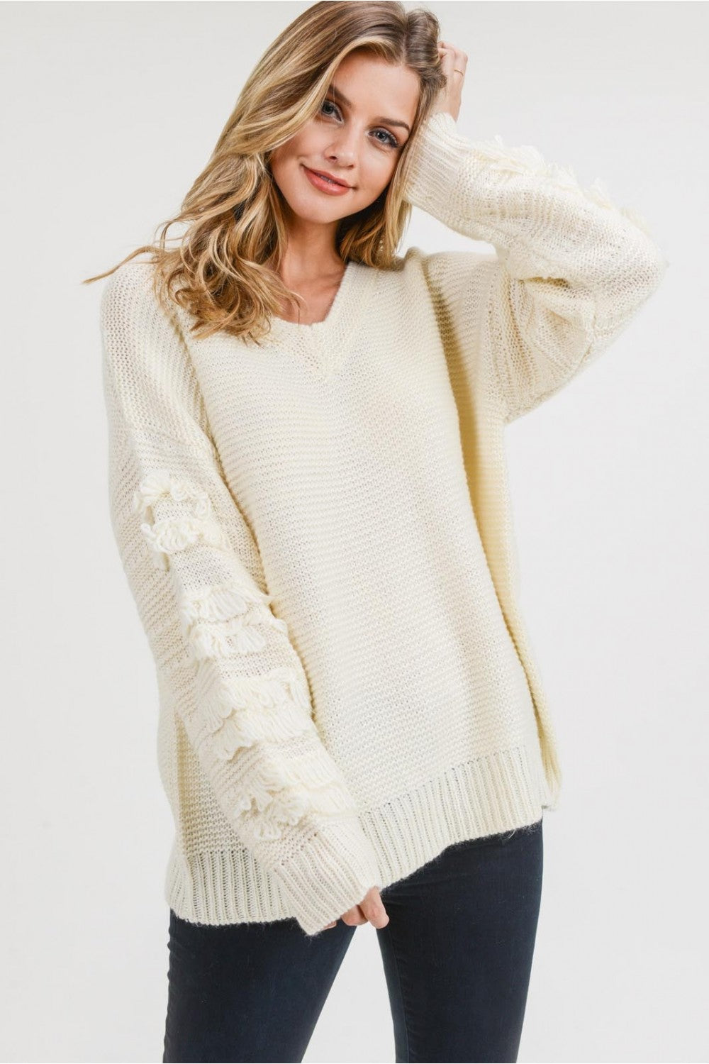 Creme Fringe Sleeve Sweater