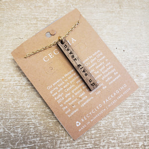 Wood Affirmation Necklace- Never Give Up