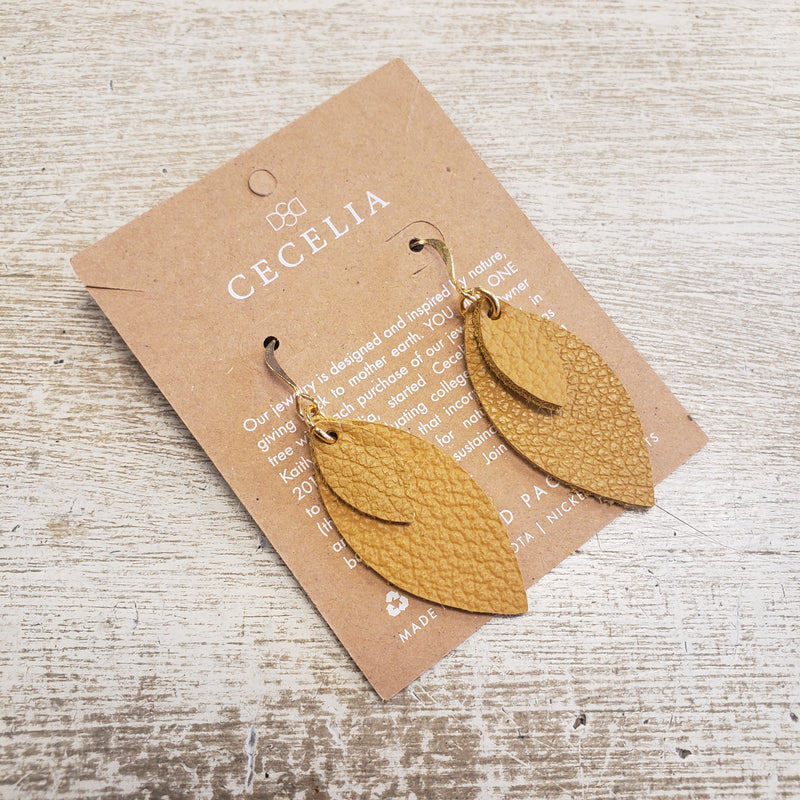Small Double Feather Leather Earrings - Mustard 2