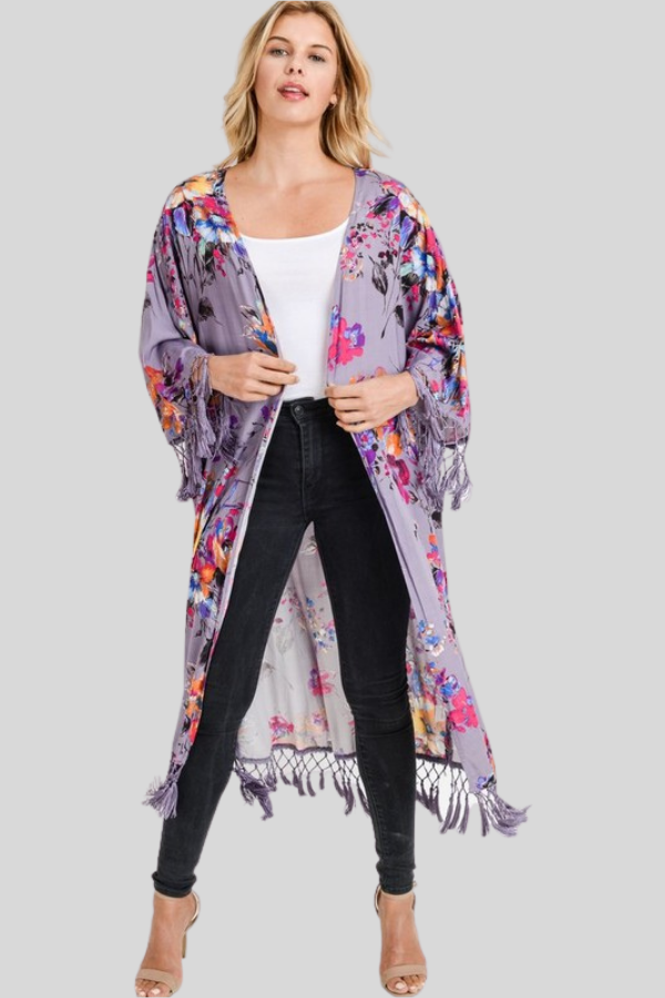 Lilac Long Duster Cardigan