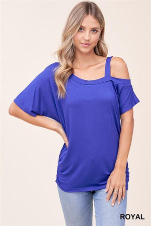 Blue One Shoulder Top