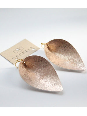 Peach Sparkle Leaf Faux Leather Earring