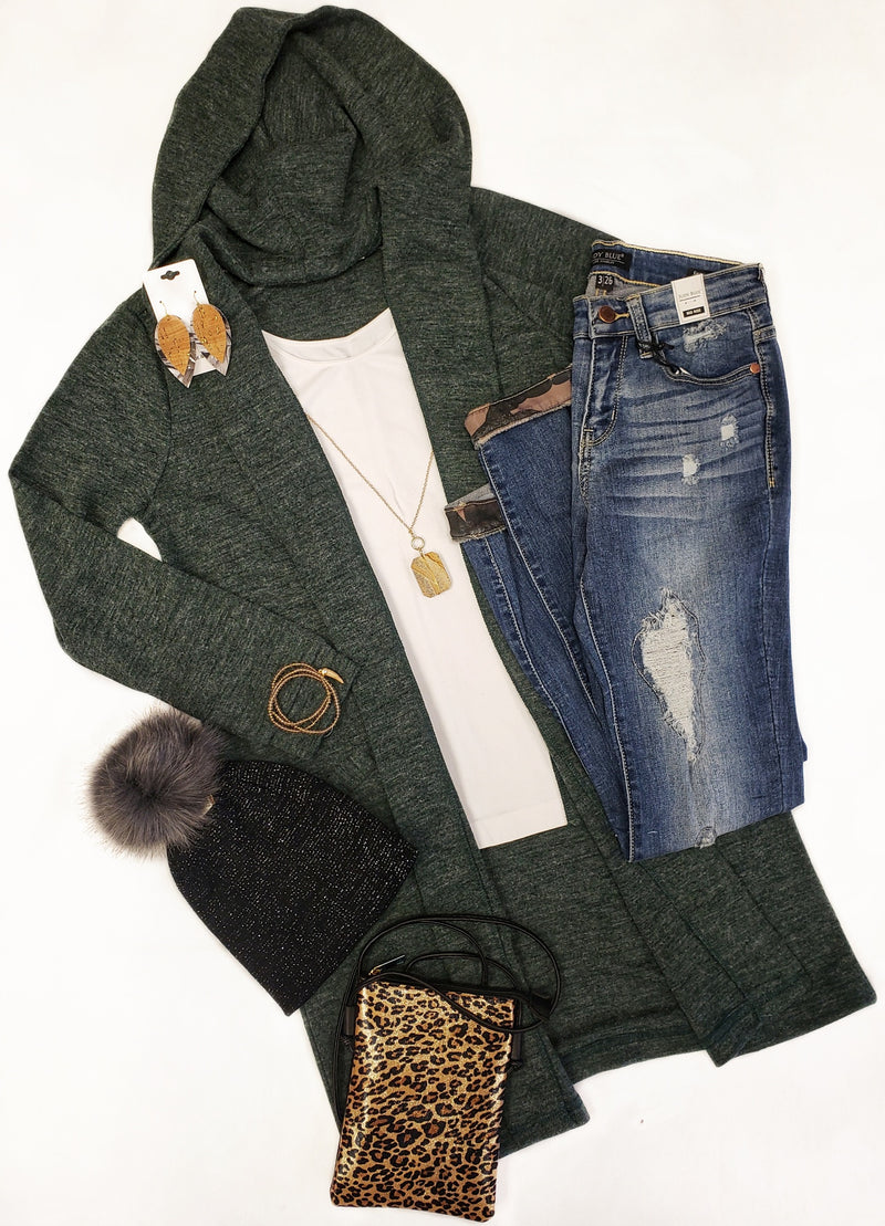 Hunter Green Hooded Cardi