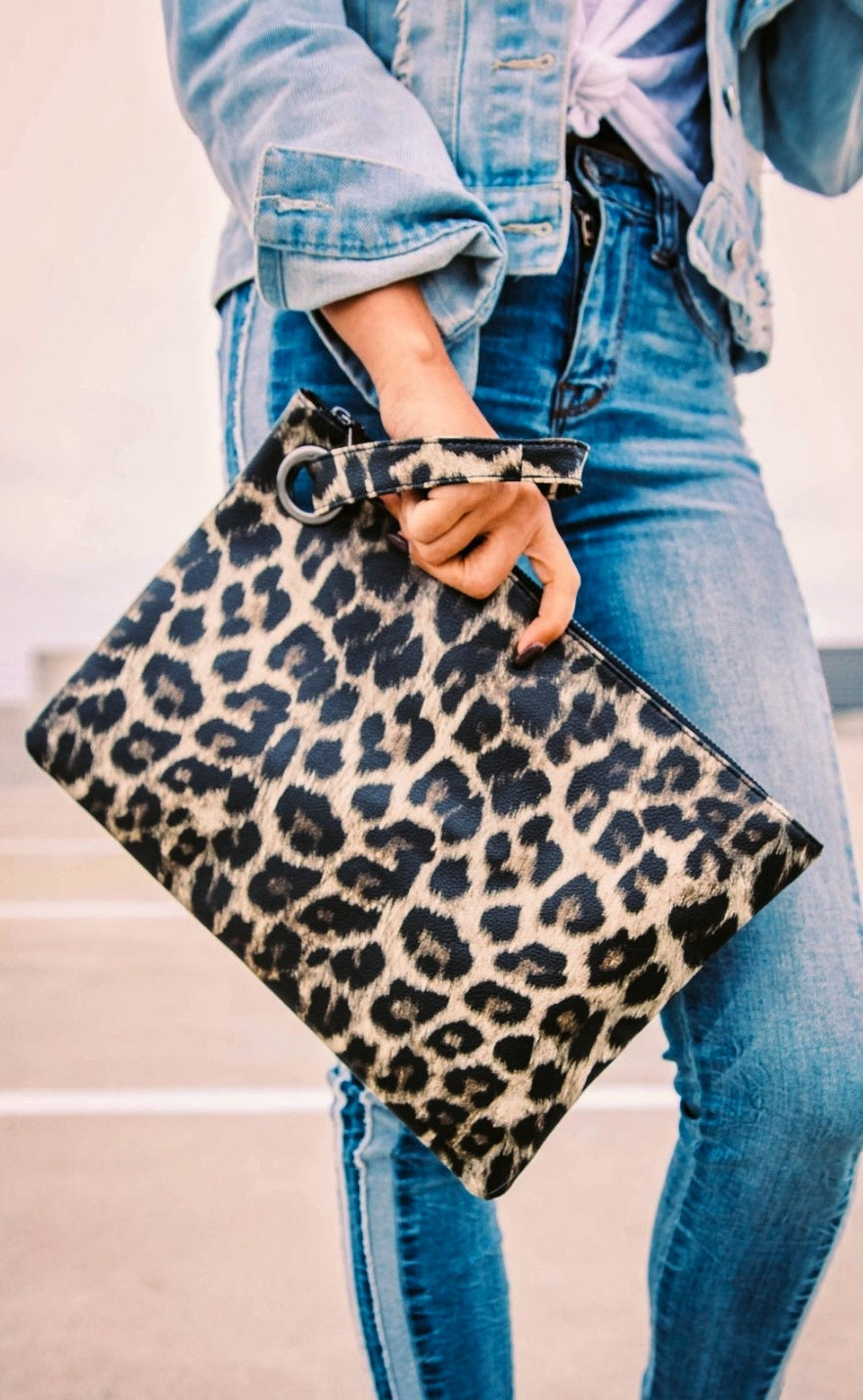 Large Leopard Print Clutch