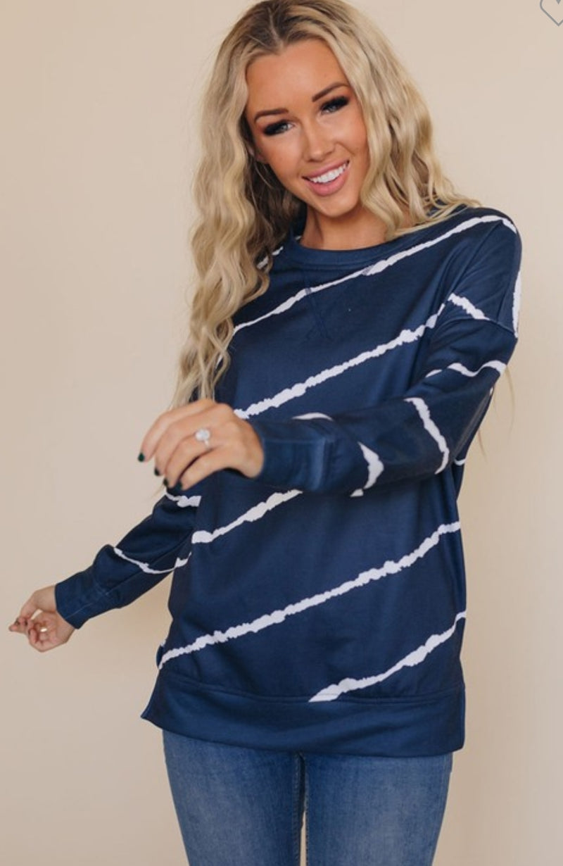 Blue Diagonal Stripe Top