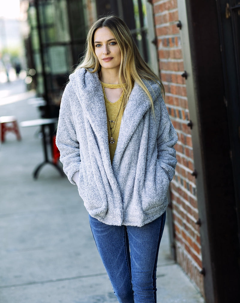 Gray Teddy Bear Cardigan