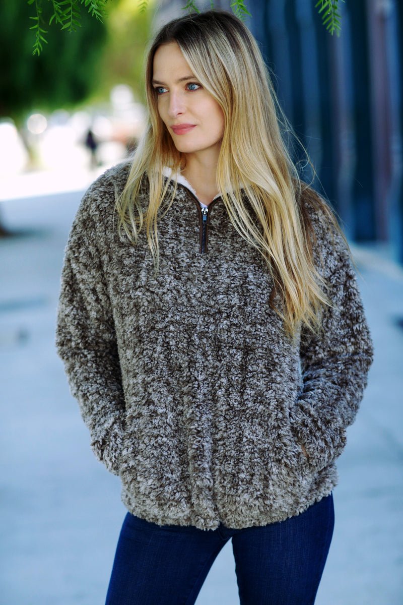 Taupe Sherpa Pullover