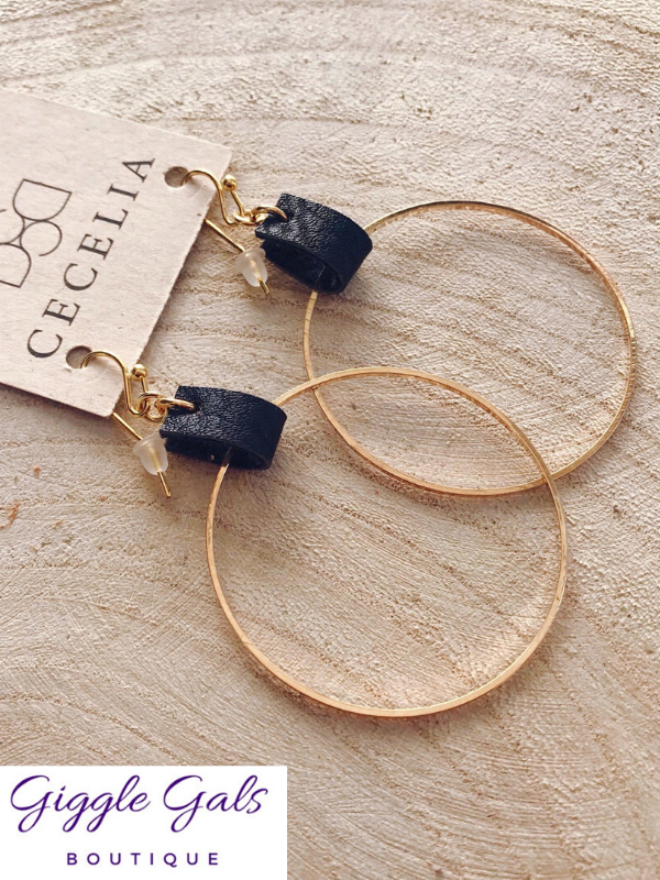 Black Leather Hoop Earrings by Cecelia Designs