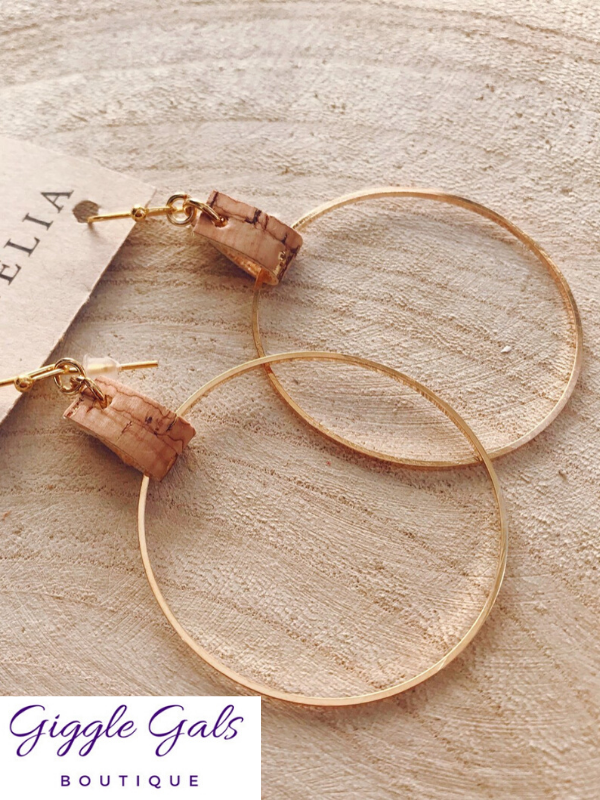 Cork Hoop Earrings by Cecelia Designs