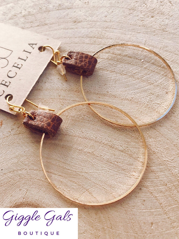 Natural Leather Hoop Earrings