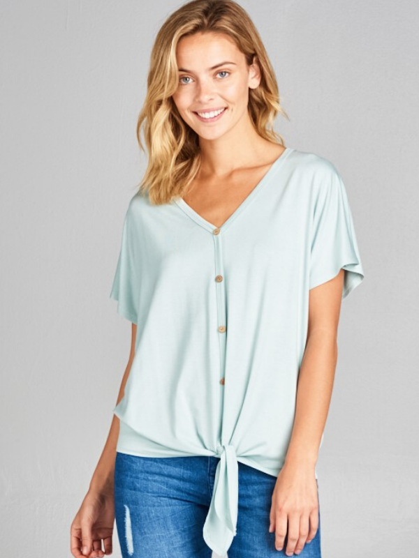 SOLID BUTTON FRONT V NECK TIE TOP