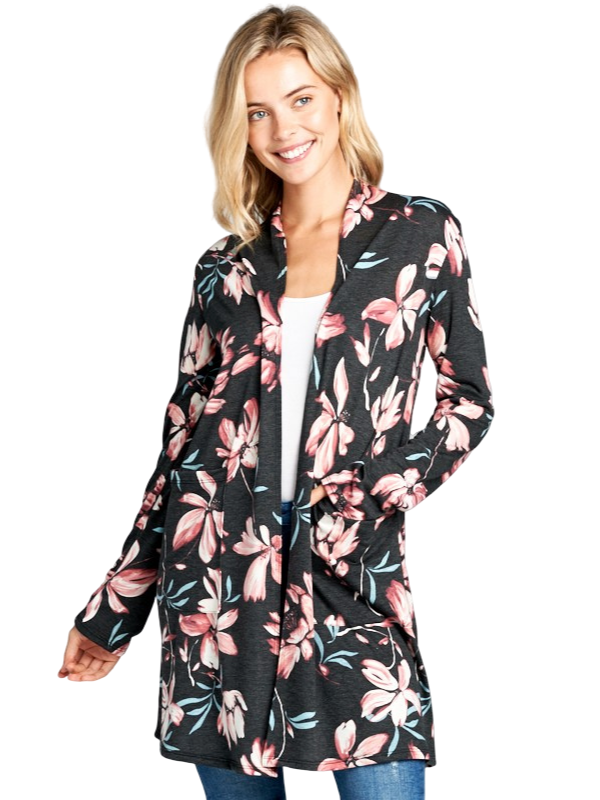 FLORAL PRINT LONG SLEEVE LONG CARDIGAN