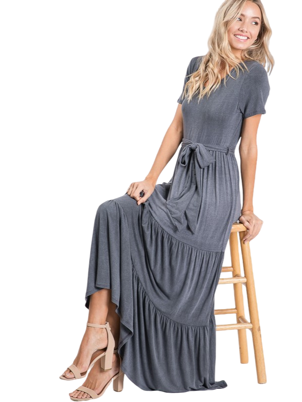 VINTAGE BOTTOM RUFFLE MAXI DRESS