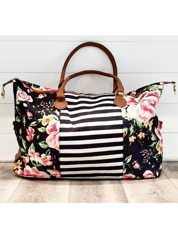 Floral Stripe Travel Bag