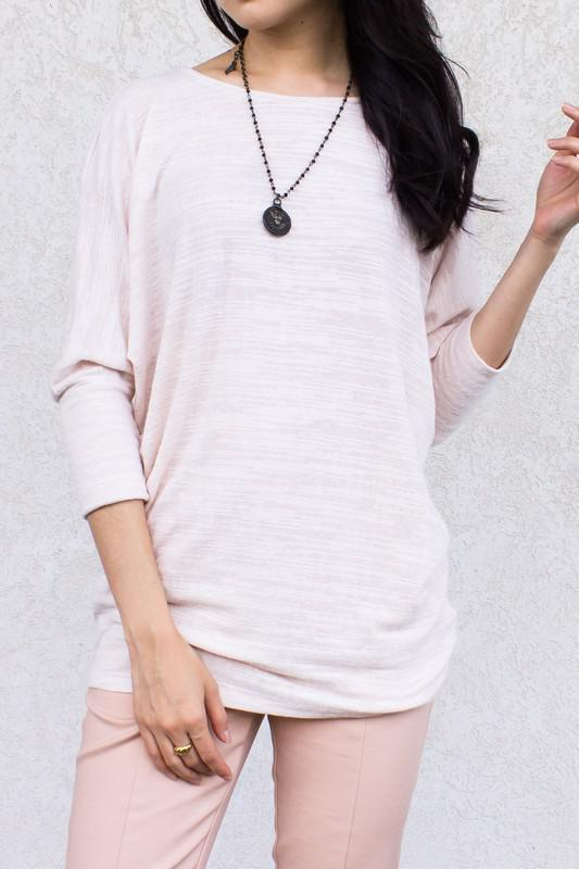 Slub Knit Dolman Sleeve Top