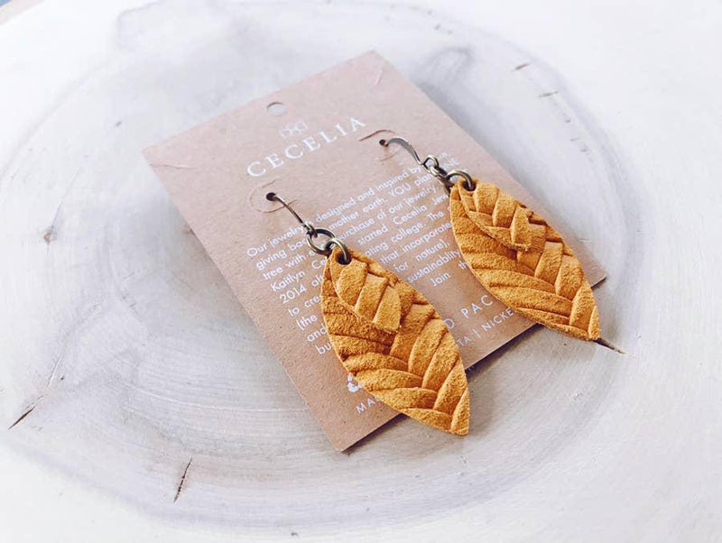 Small Double Feather Leather Earrings - Mustard