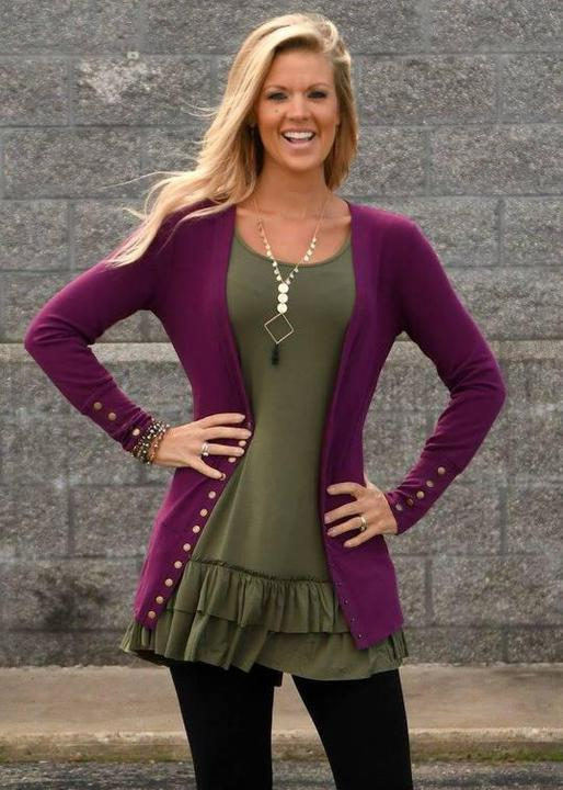 Snap Cardigan Plum