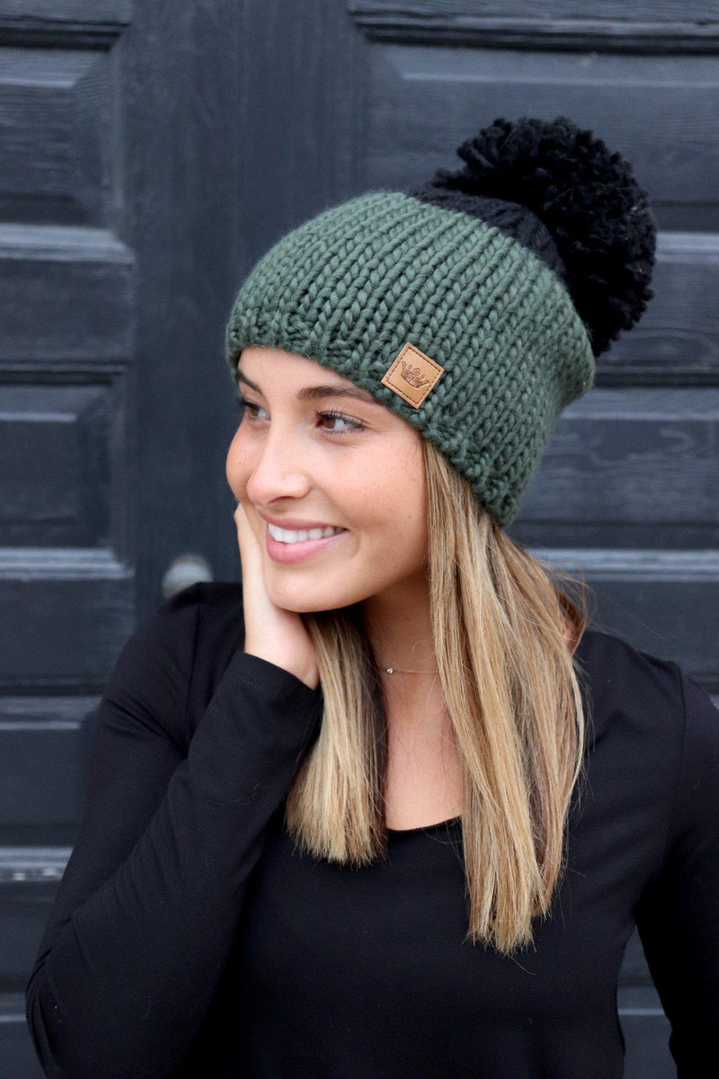 Olive and Black Pom Hat