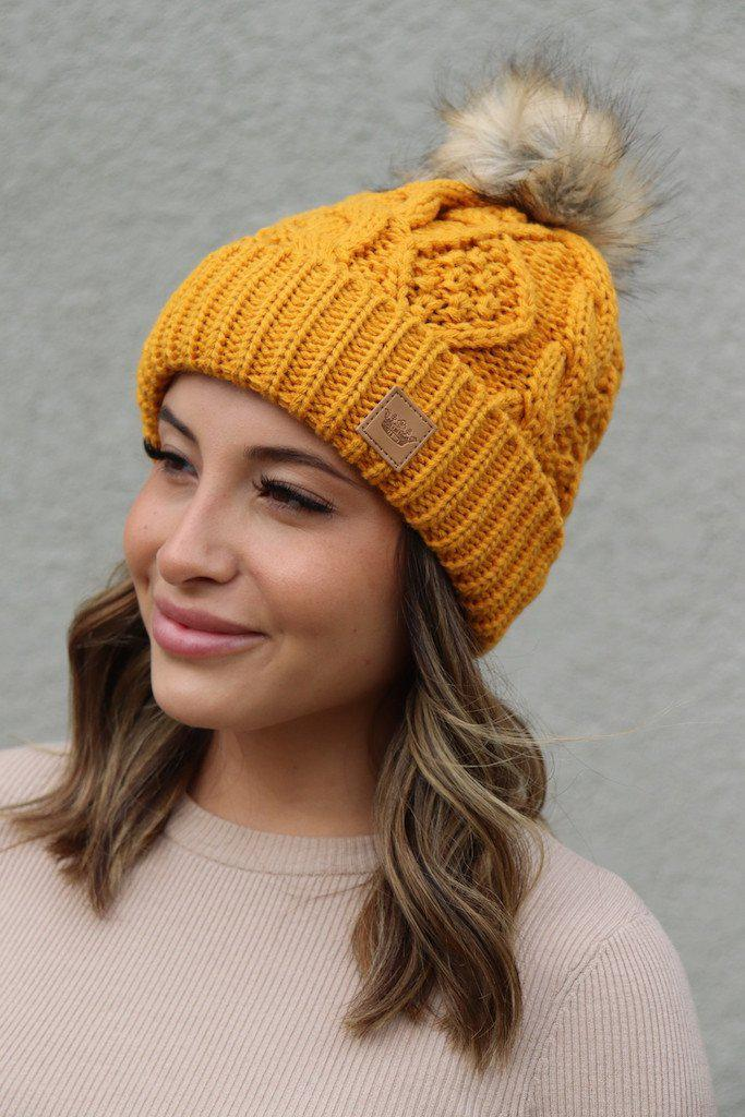 Mustard Fleece Lined Pom Hat