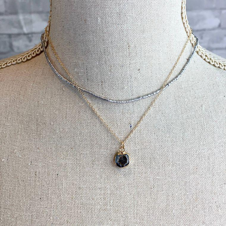 Mixed Black Stone Necklace