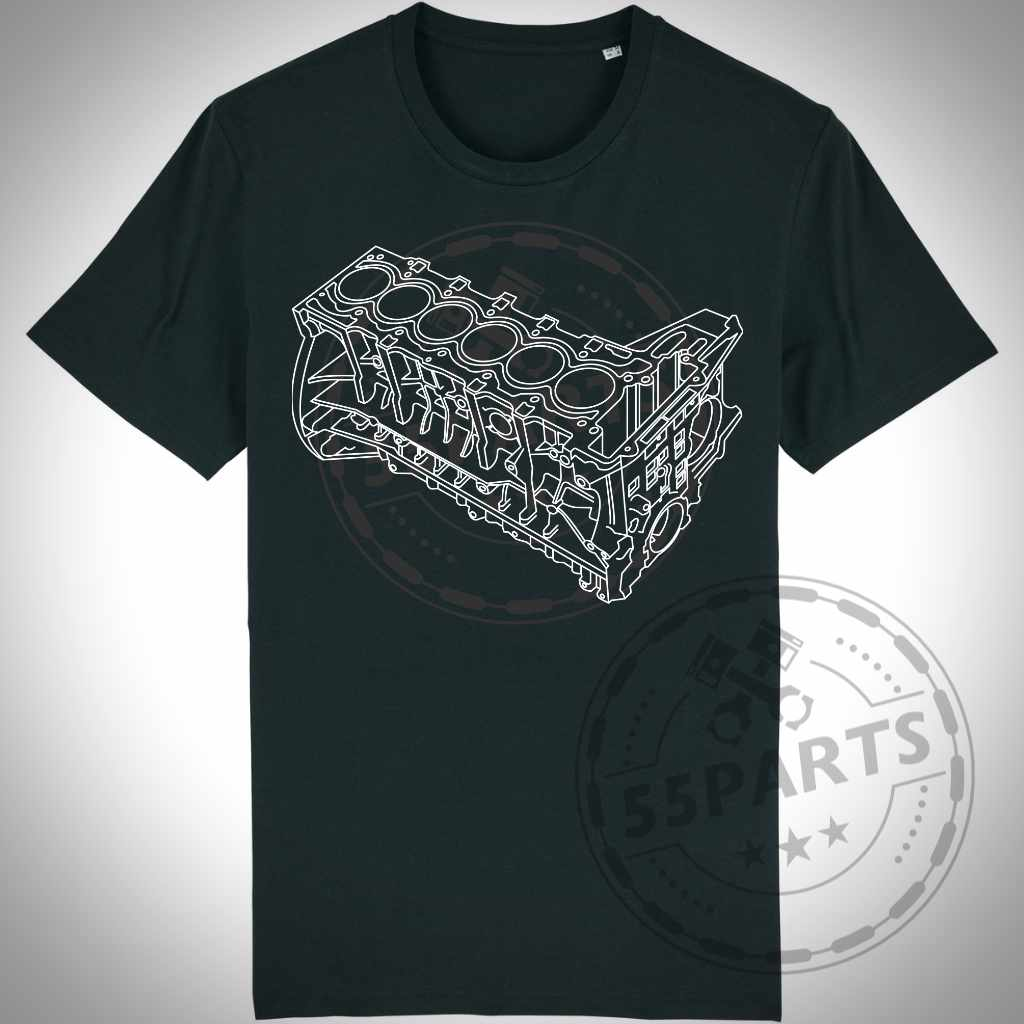 Reihensechser Motorblock mit 55Parts Backdrop T-Shirt - 55parts.de