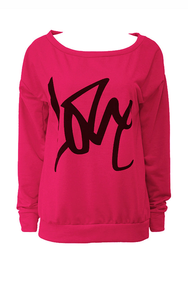 Shyfull Leisure Round Neck Letters Printing  Cotton Pullover