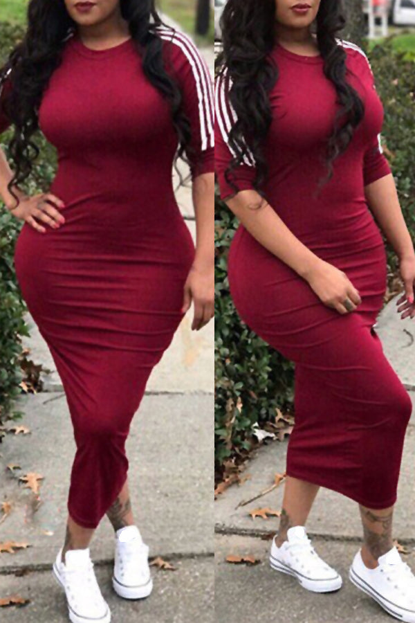 Shyfull Sexy Round Neck Striped  Mid Calf Dress