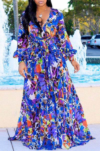 Shyfull Bohemian Floral Printed Floor Length Dress