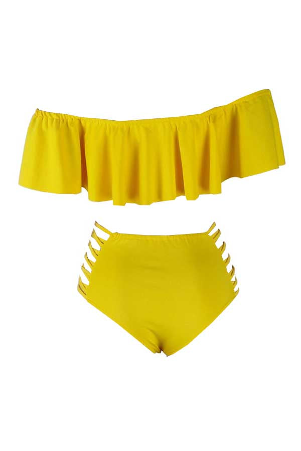Shyfull Bateau Neck Flounce Two-piece Swimwears