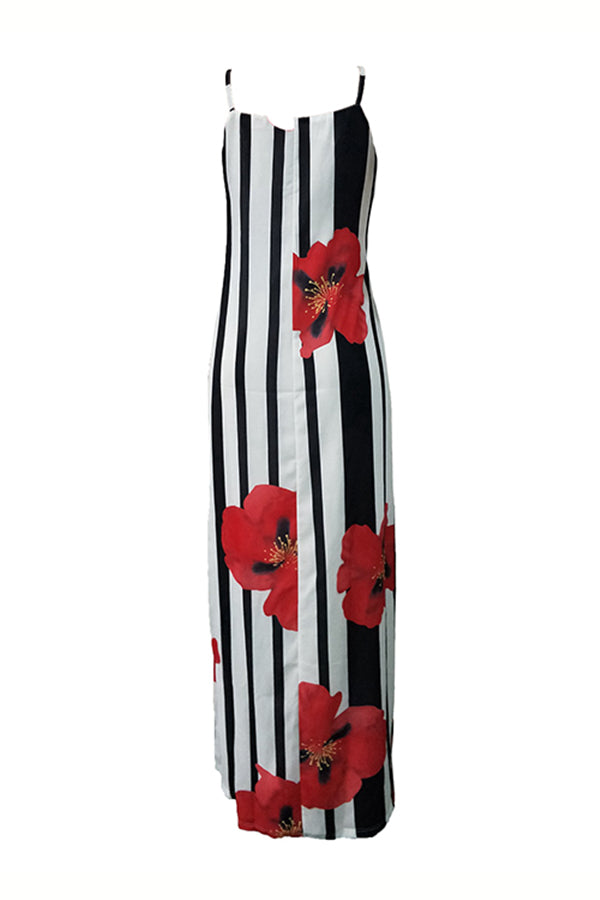 Shyfull  Striped Floral Printed  Floor Length Dress