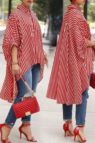 Shyfull Casual Asymmetrical Striped shirt
