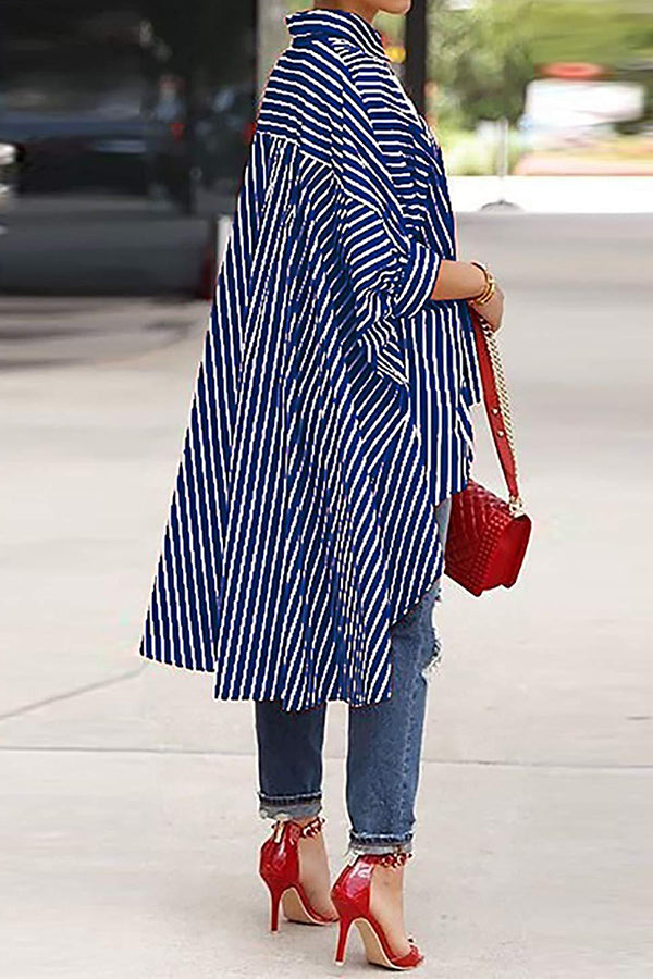 Shyfull Casual Striped Asymmetrical shirt