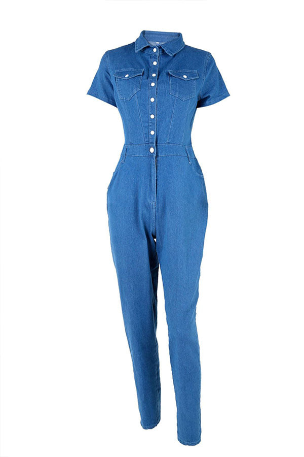 Shyfull Fashion Turndown Collar Buttons Blue Denim Jumpsuits