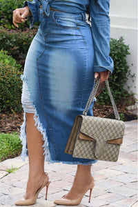 Shyfull Casual Broken Holes Slim Blue Denim Mid Calf Skirts