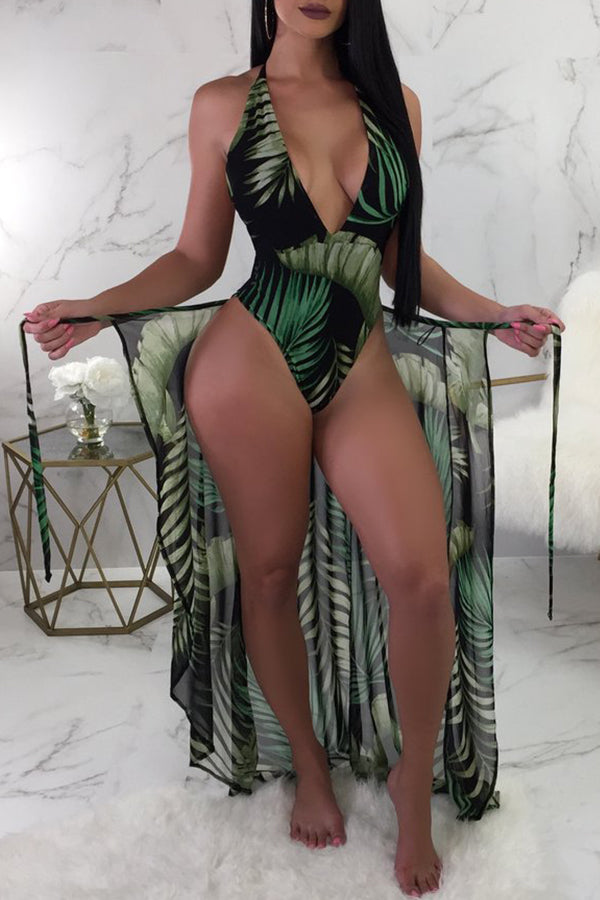 Shyfull Sexy Printed Blackish Green One-piece Swimwears (With Cover-Ups)