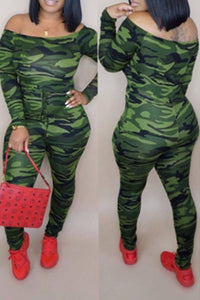 Shyfull  Casual Camouflage Printed Jumpsuit