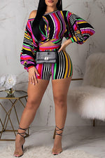 Shyfull Trendy Striped  Two-piece Shorts Set