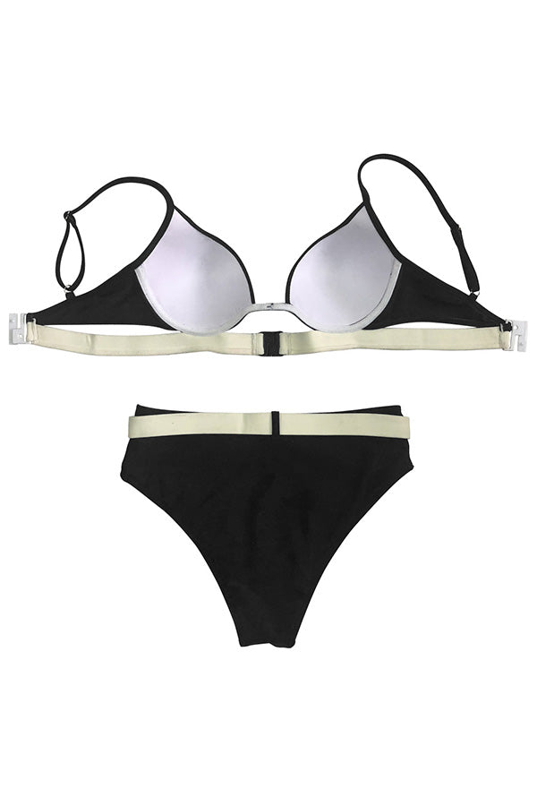 Shyfull Black Hollow-out Two-piece Swimwear