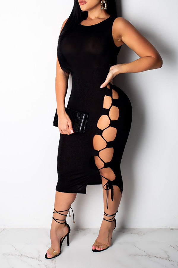 Shyfull Casual Lace-up Hollow-out  Mid Calf Dress