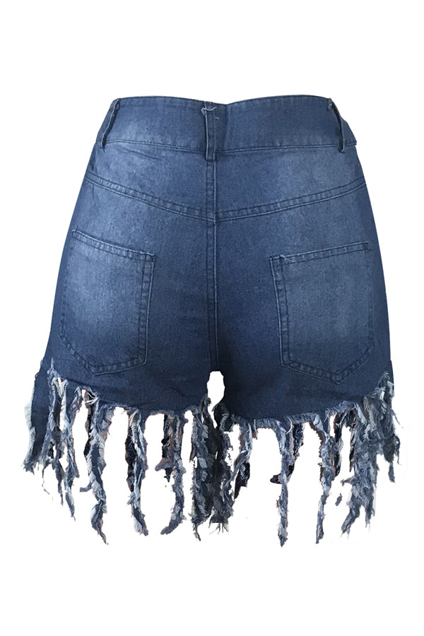 Shyfull Casual Tassel Design Denim Shorts