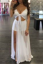 Shyfull Sexy V Neck Hollow-out  Floor Length Maxi Dress