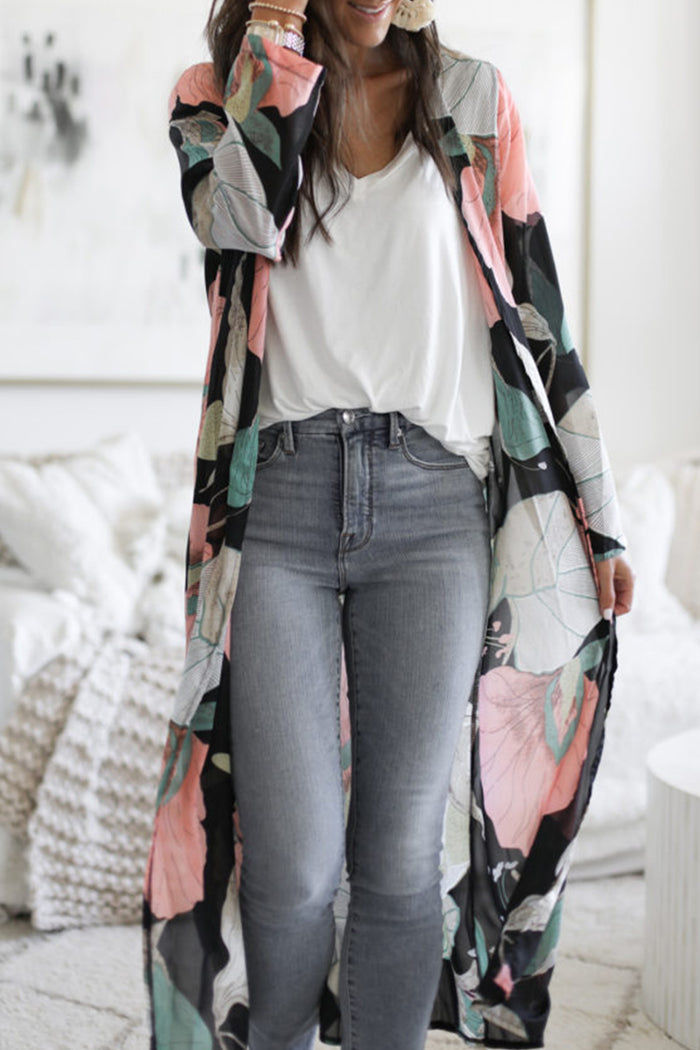 Shyfull Kimono Black Printed Covers-up