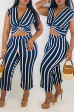 Shyfull Trendy V Neck Striped Blue Two-piece Pants Set