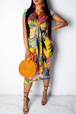 Shyfull Trendy Printed Knot Design Yellow Knee Length Dress