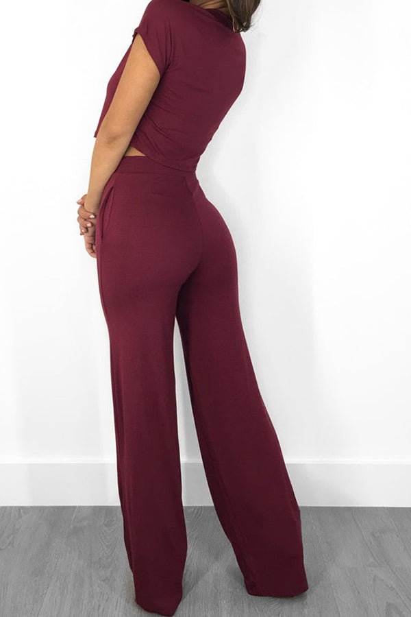 Shyfull Trendy O Neck Wine Red Two-piece Pants Set