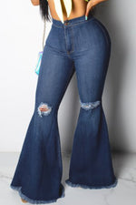 Shyfull Casual Broken Holes Blue Jeans