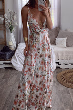 Shyfull Stylish V Neck Printed Floor Length Dress